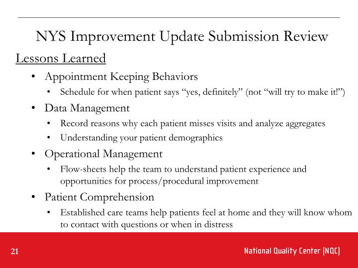 NYS Improvement Update Submission Review