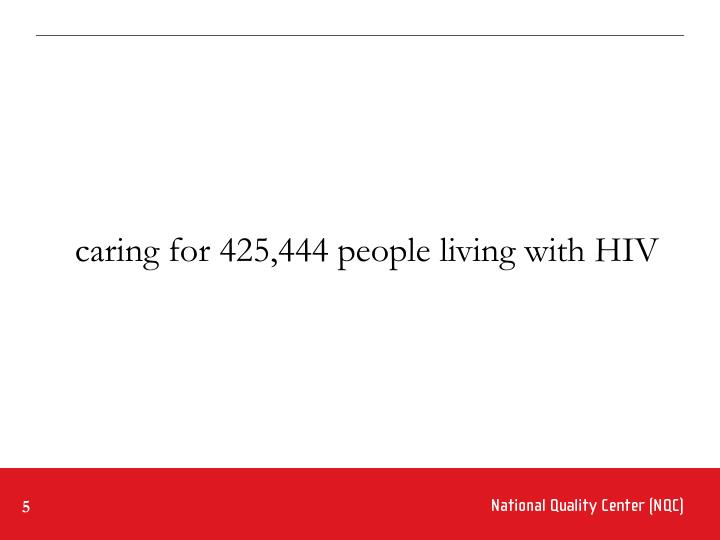 caring for 425,444 people living with HIV