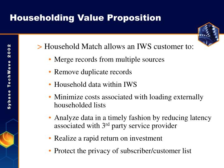Householding Value Proposition