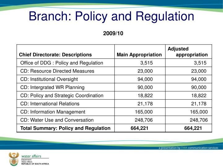 Branch: Policy and Regulation