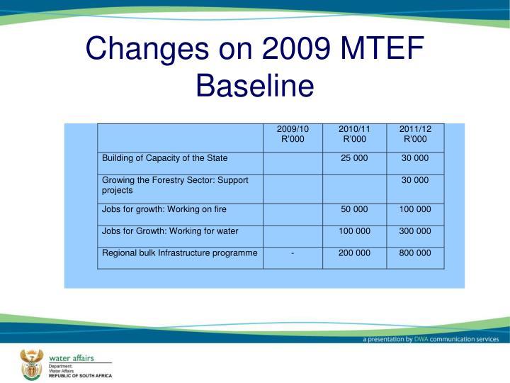 Changes on 2009 MTEF Baseline