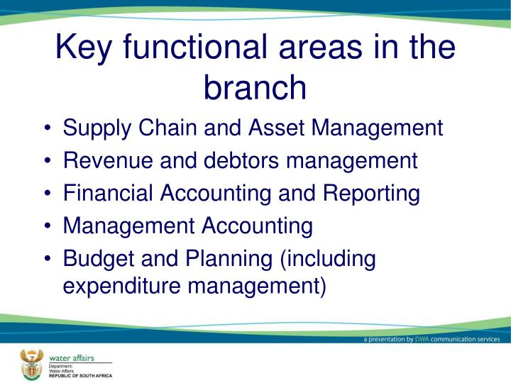 Key functional areas in the branch