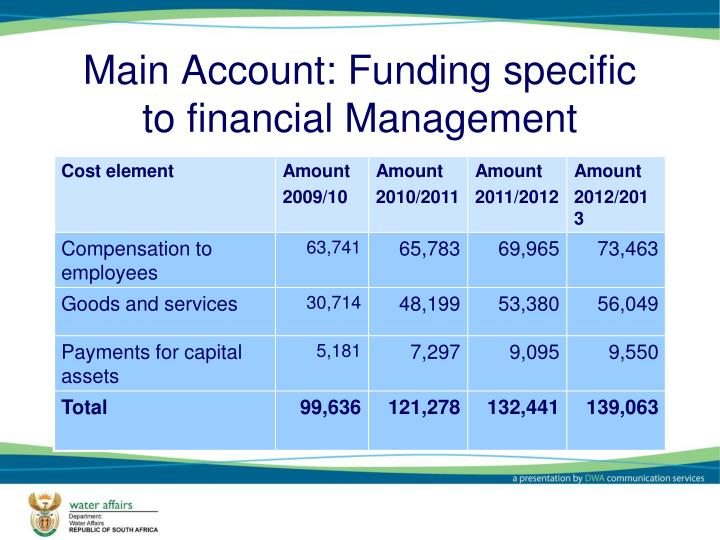 Main Account: Funding specific to financial Management
