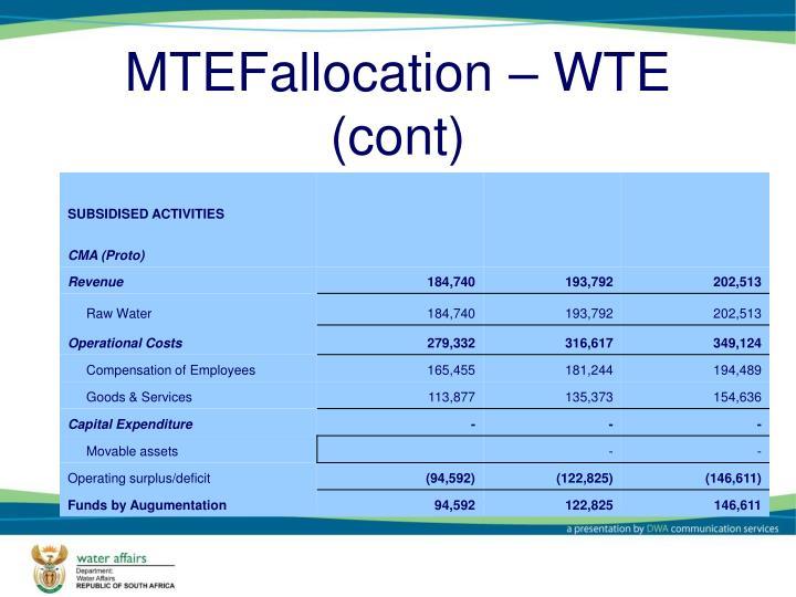 MTEFallocation – WTE (cont)