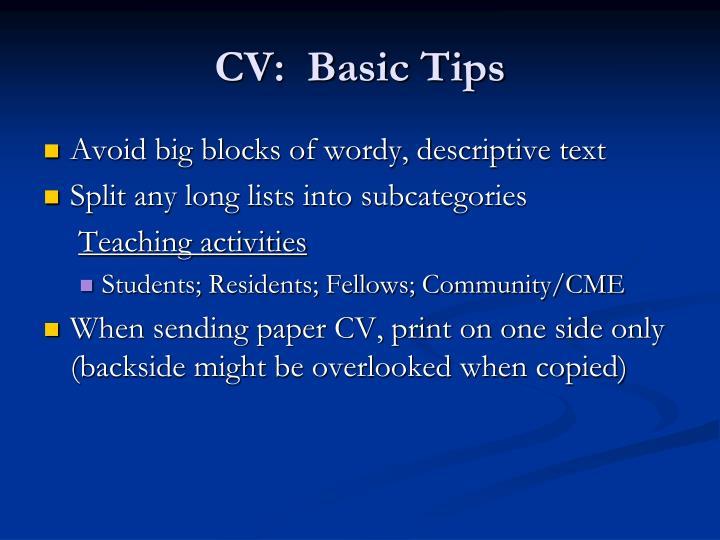 CV:  Basic Tips