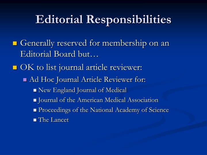 Editorial Responsibilities