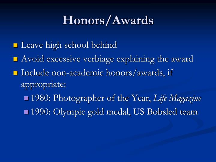 Honors/Awards