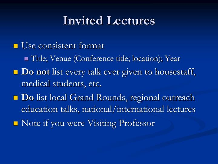 Invited Lectures