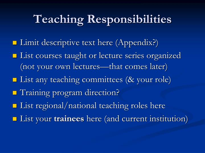 Teaching Responsibilities