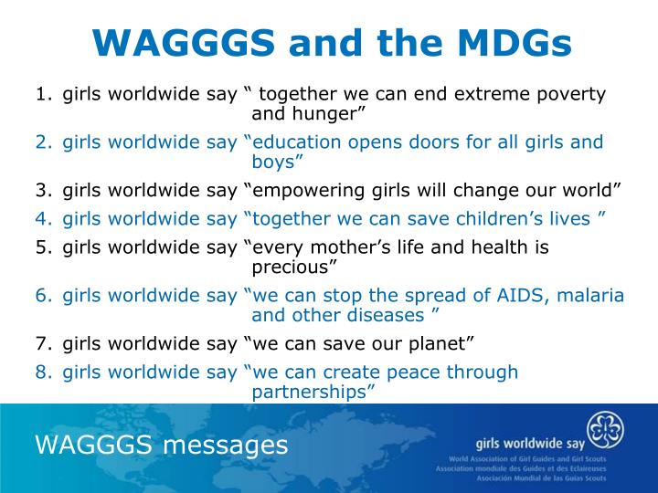 WAGGGS and the MDGs