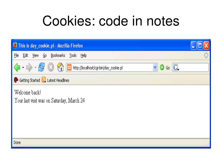 Cookies: code in notes