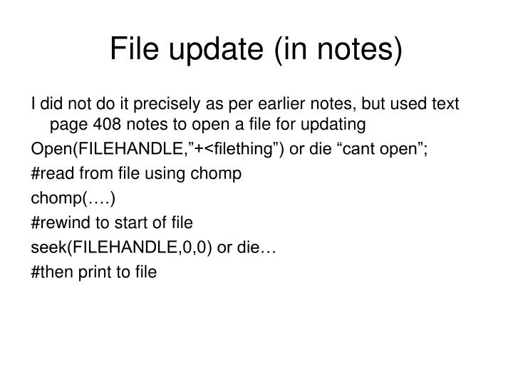 File update (in notes)