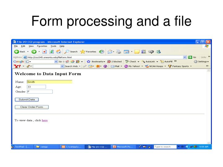 Form processing and a file
