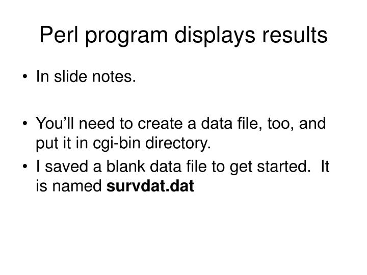 Perl program displays results