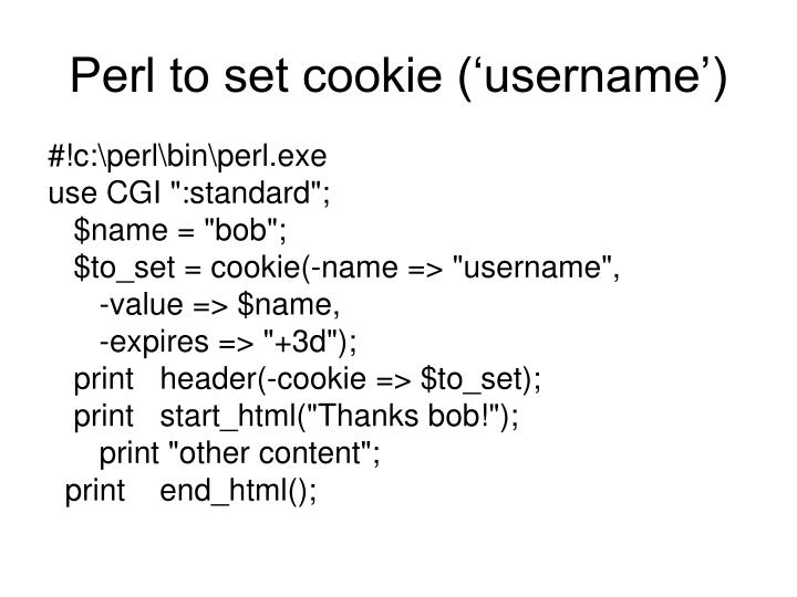 Perl to set cookie ('username')