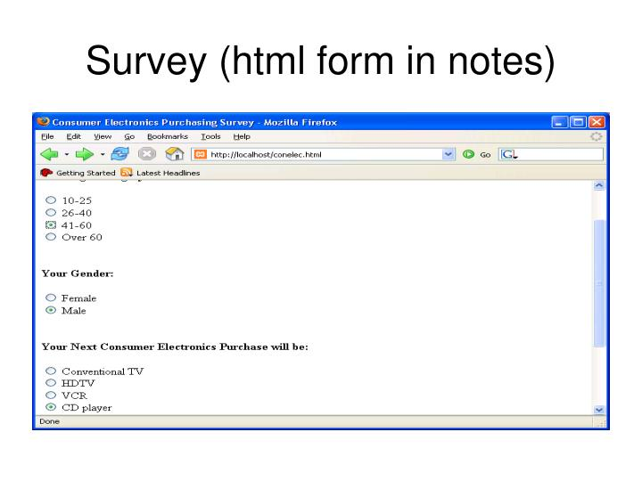 Survey html form in notes