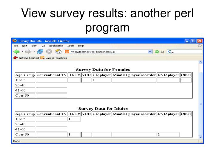 View survey results: another perl program