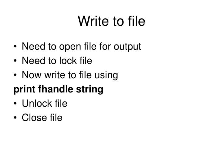 Write to file