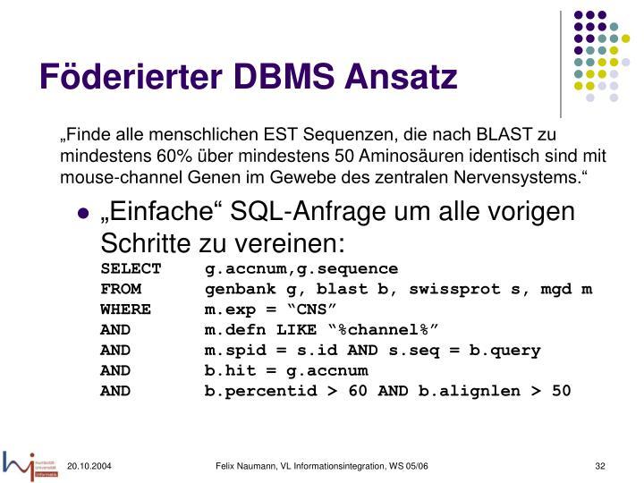 Föderierter DBMS Ansatz