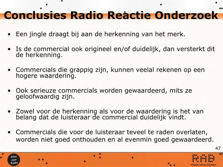 Conclusies Radio Reactie Onderzoek