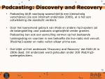 podcasting discovery and recovery