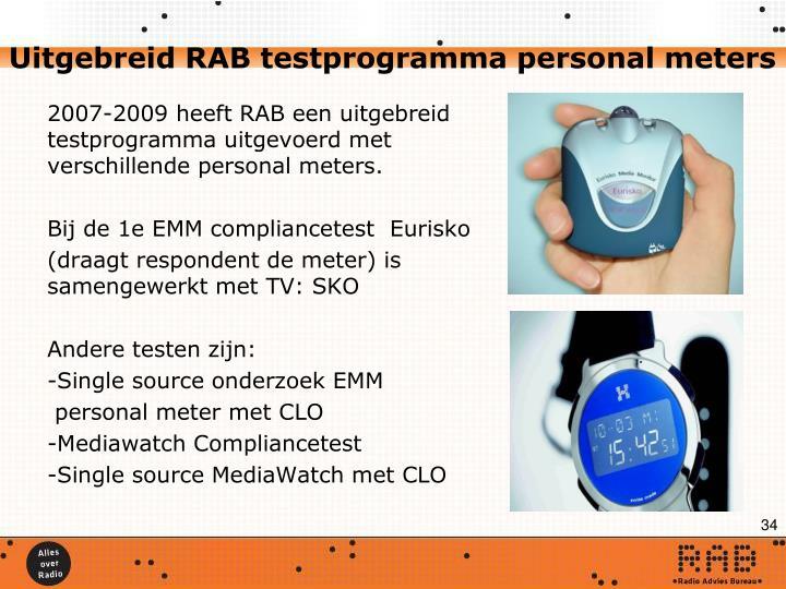 Uitgebreid RAB testprogramma personal meters
