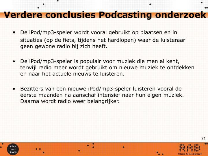 Verdere conclusies Podcasting onderzoek