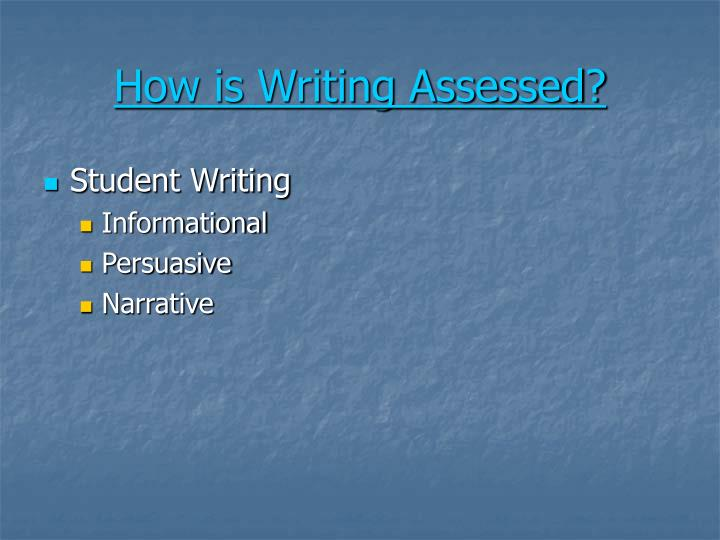 How is Writing Assessed?