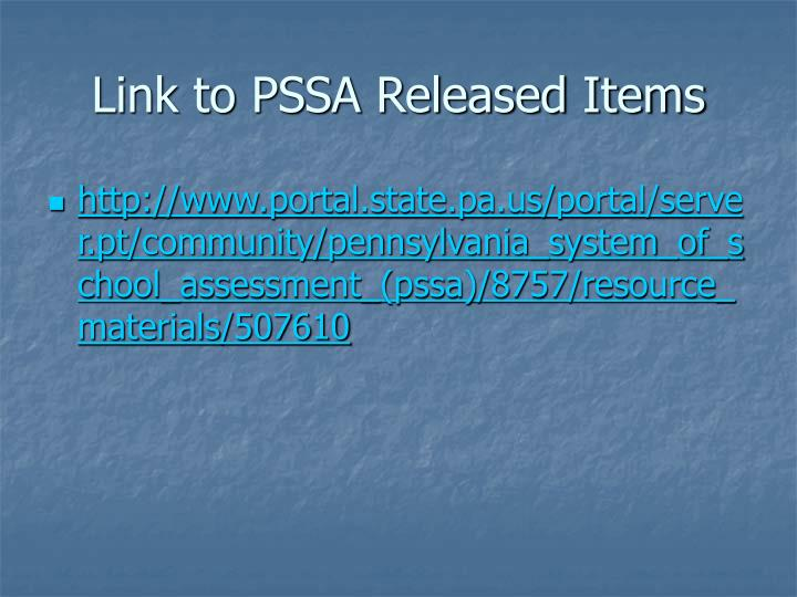 Link to PSSA Released Items