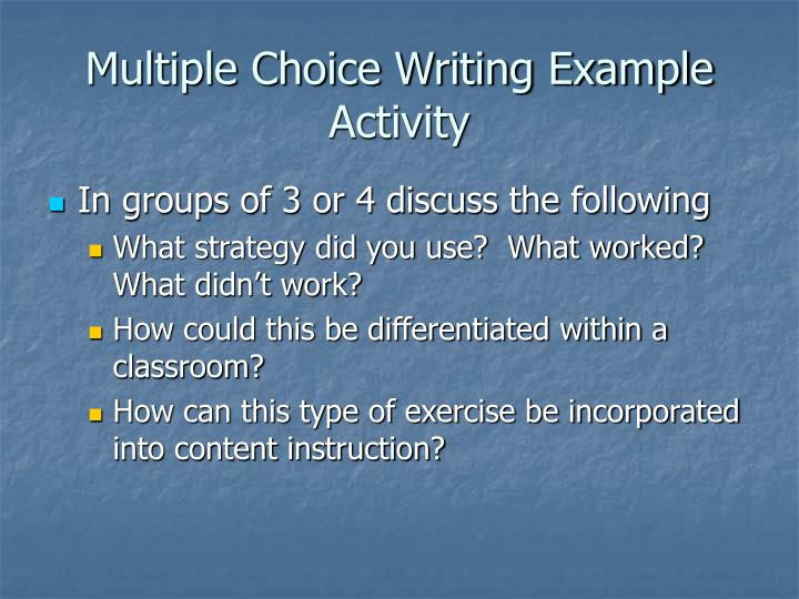 Multiple Choice Writing Example Activity