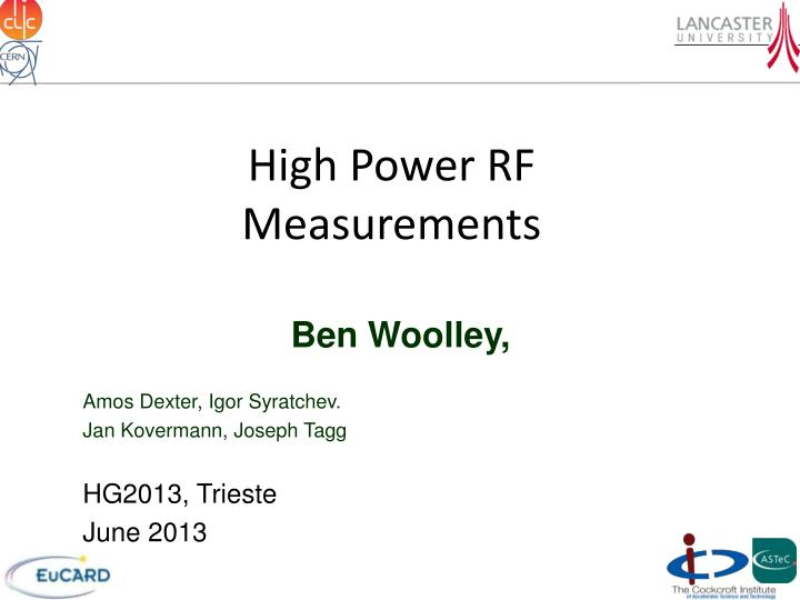 High power rf measurements