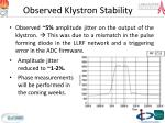 observed klystron s tability