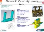 planned clic crab high power tests
