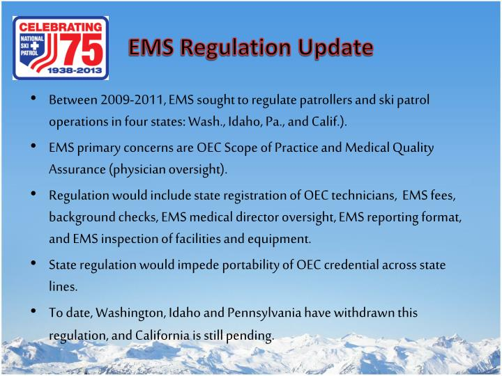 EMS Regulation Update
