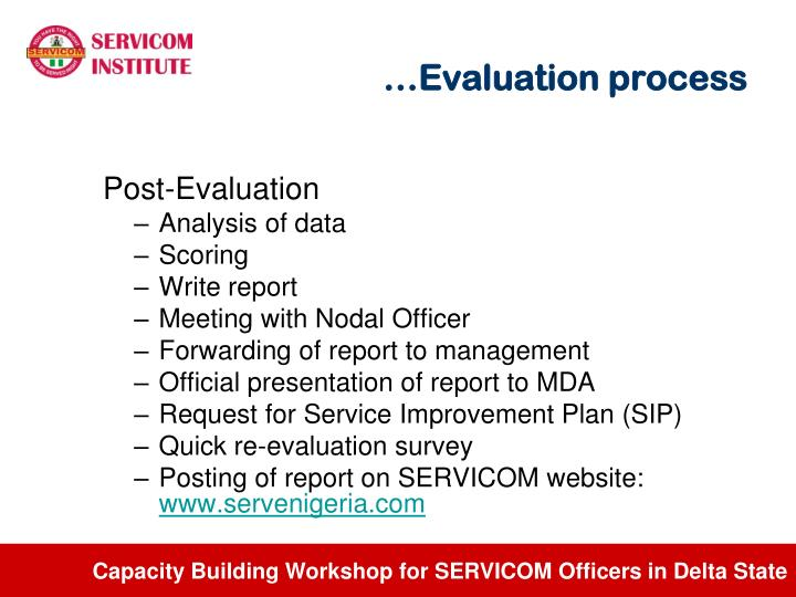 …Evaluation process