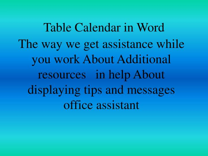 Table Calendar in Word