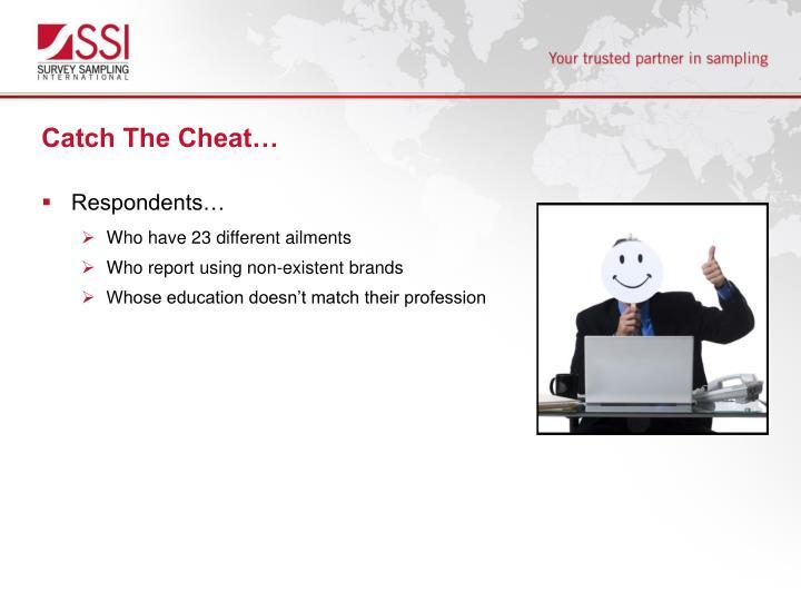 Catch The Cheat…