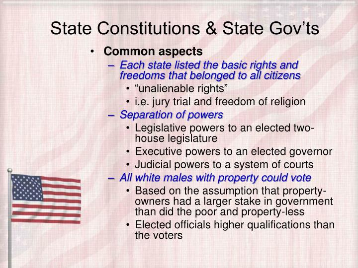 State Constitutions & State Gov'ts