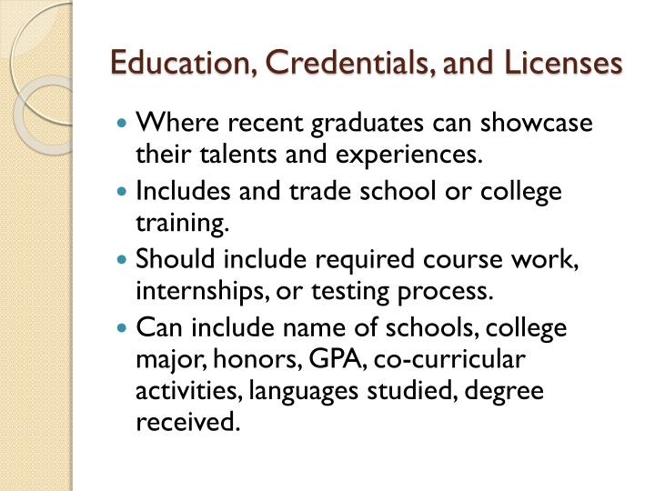 Education, Credentials, and Licenses