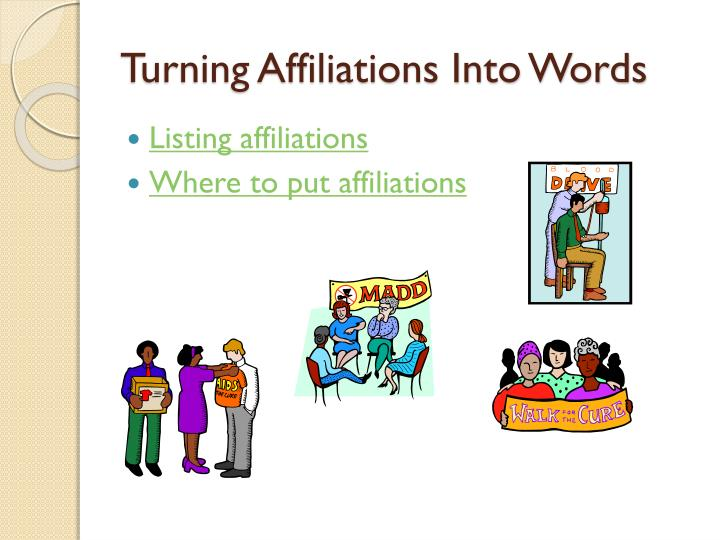 Turning Affiliations Into Words