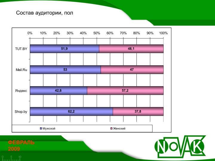 Состав аудитории, пол