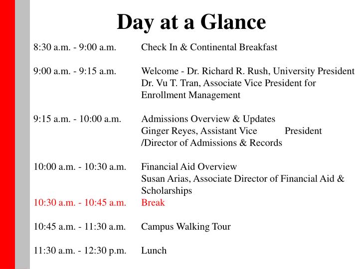 Day at a Glance