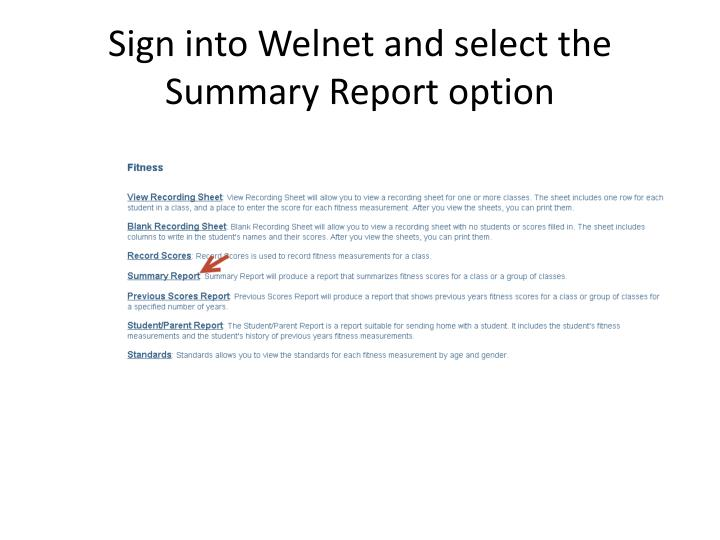 Sign into Welnet and select the
