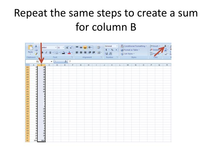 Repeat the same steps to create a sum