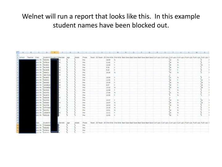 Welnet will run a report that looks like this.  In this example