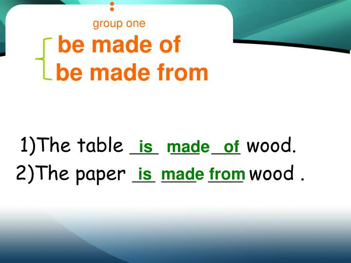 Group one be made of be made from
