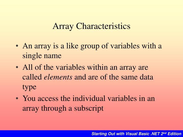 Array Characteristics