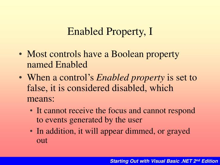 Enabled Property, I