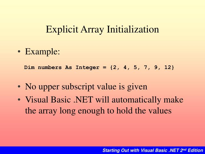 Explicit Array Initialization