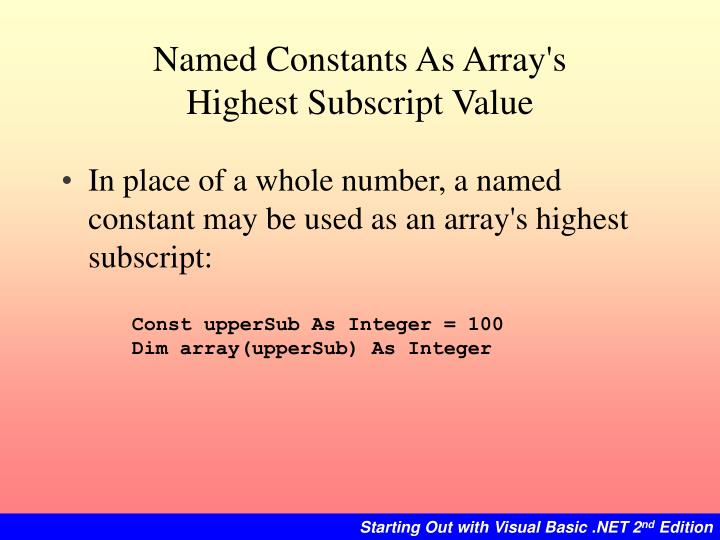Named Constants As Array's